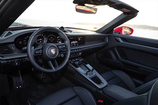 2020 Porsche 911 Carrera 4S Cabriolet interior.
