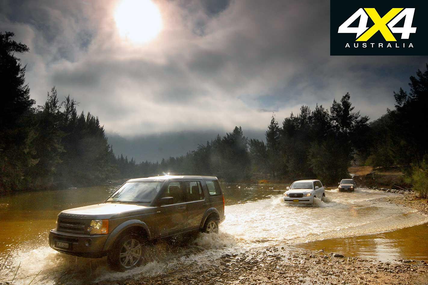 2009 Land Rover Discovery 3 Vs Toyota Land Cruiser Vs Mitsubishi Pajero River Crossing Jpg