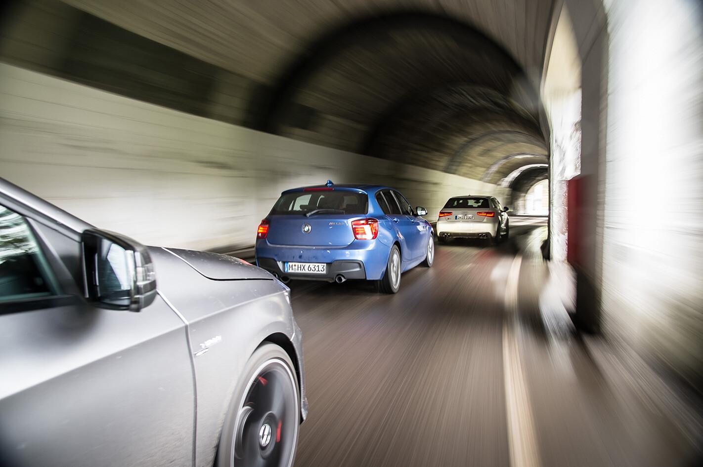Audi S3 vs BMW M135i vs Mercedes A45 AMG rear driving.jpg