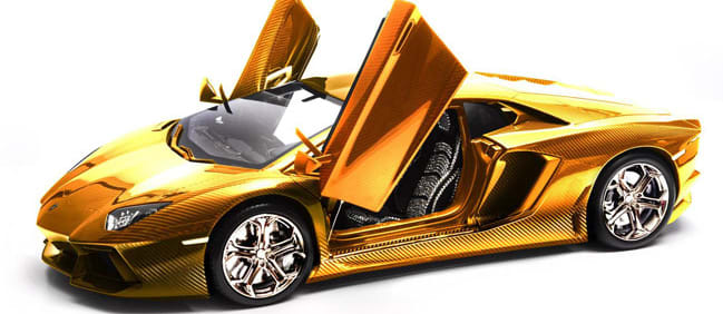 For the man who has everything, and we mean everything, we bring you this – the $7.8 million gold Lamborghini Aventador model.
