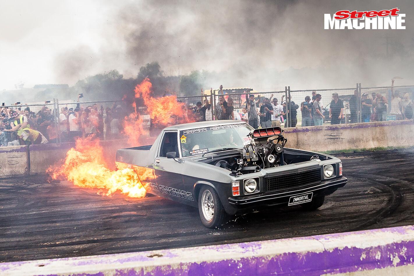 HQ Holden Ute Blown Burnout Fire