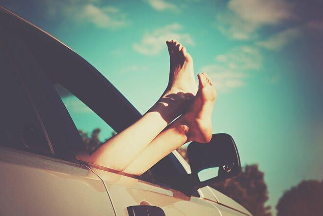 Feet outside car window