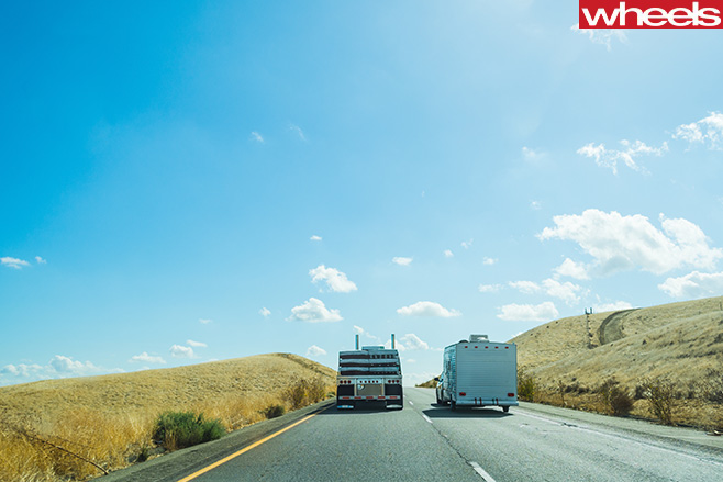 Trucks -driving -on -highway