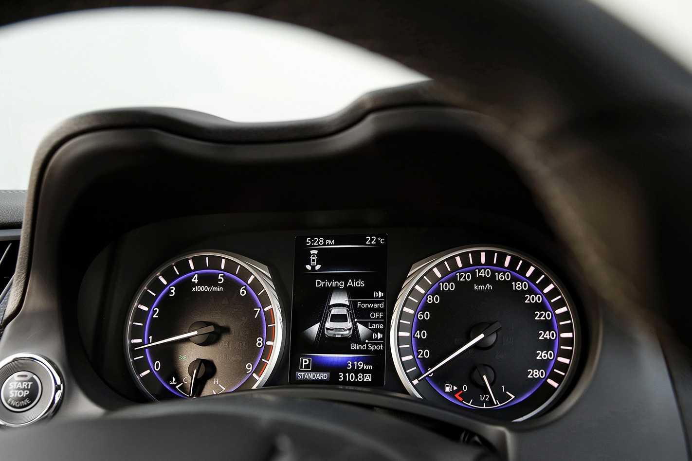 Infiniti Q60 Red Sport dashboard