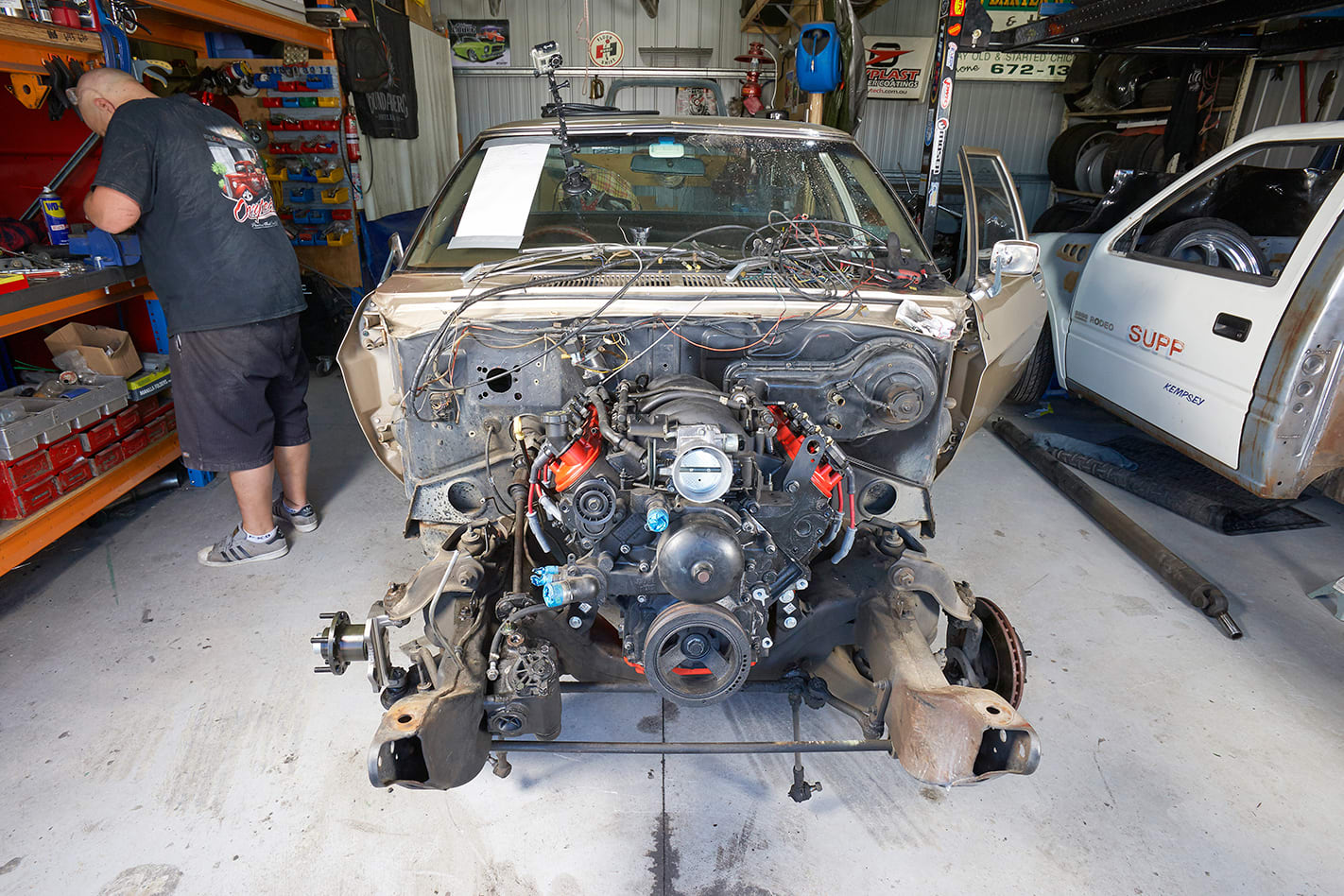 engine and transmission bolted into place
