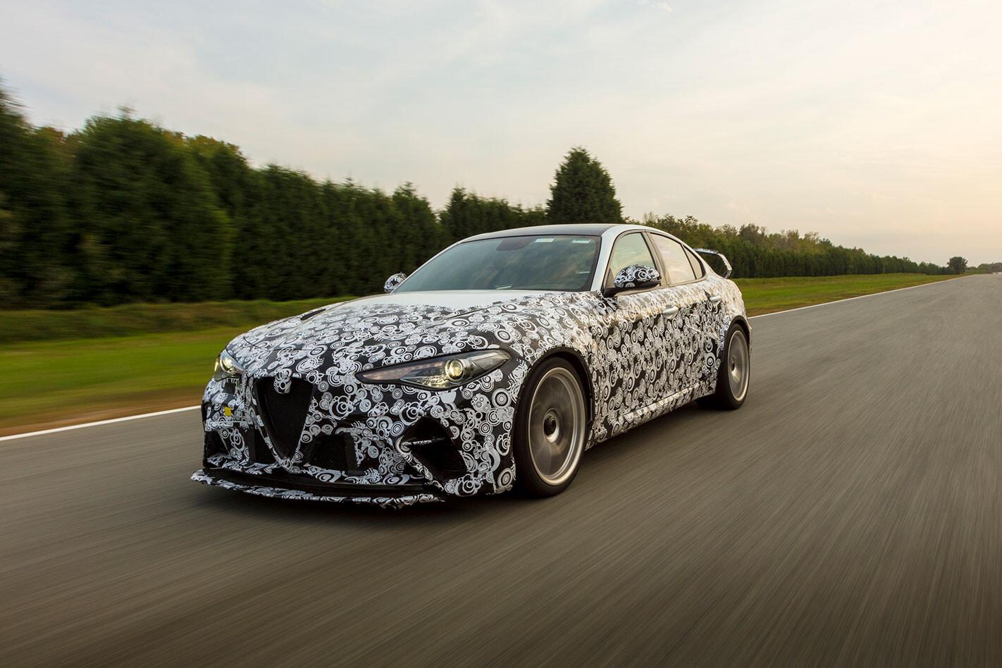 F1 drivers test Alfa Romeo Giulia GTA