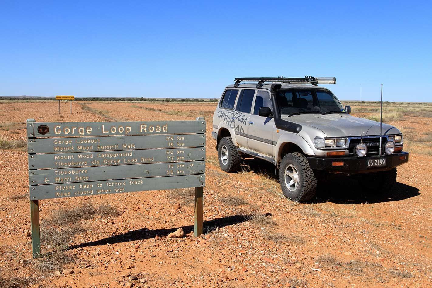 4x4 trip through the Tibooburra Gorge loop drive NSW