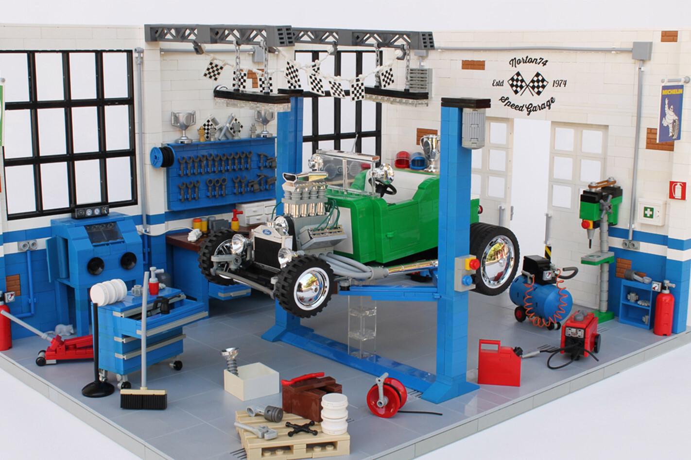 Lego hot rod in garage