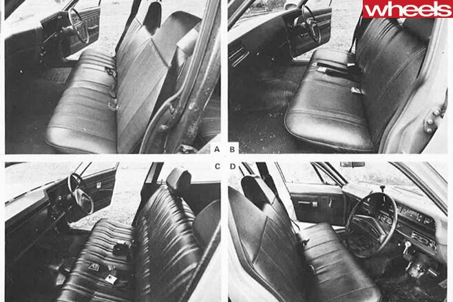 1973-Holden -vs -Lleyland -vs -Ford -vs -Valiant -interiors -doors -open
