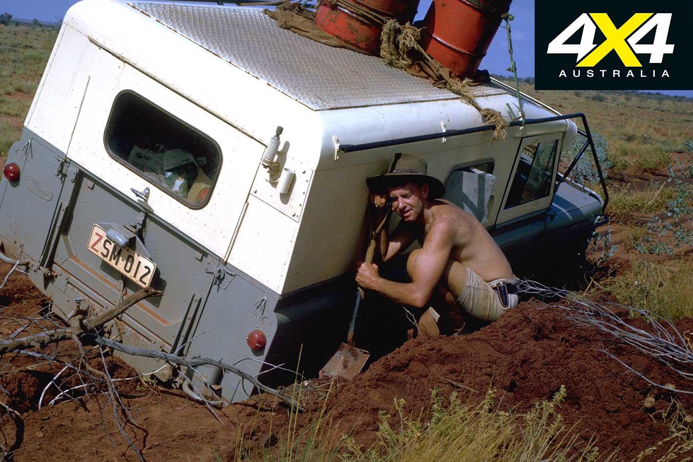 Len Beadell Bogged Land Rover Filming Jpg