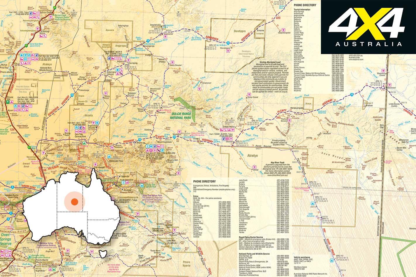 4 X 4 Trip Through Plenty Highway NT Map Jpg