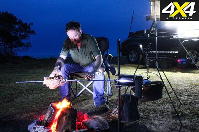 Cooking dinner on an open fire