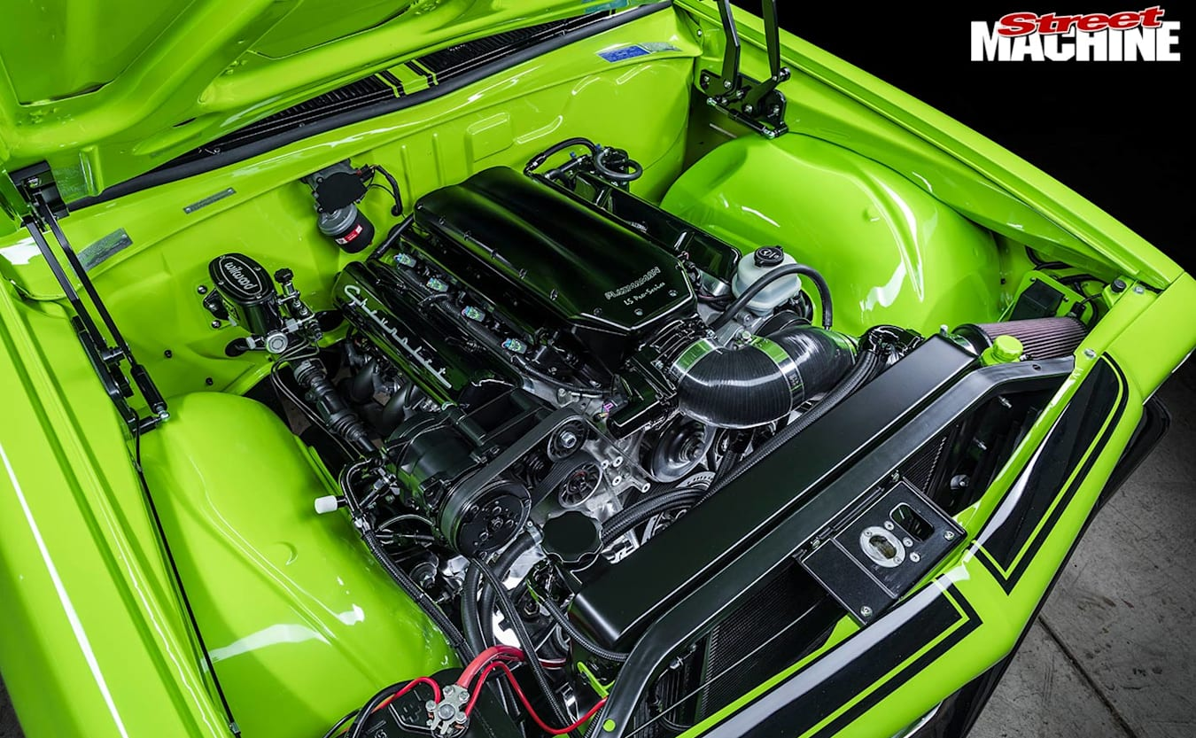 Holden HQ coupe engine bay