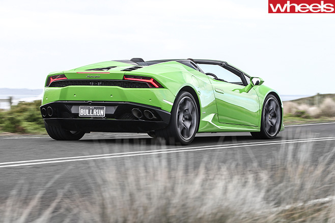 Lamborghini -Huracan -Spyder -driving -rear -side