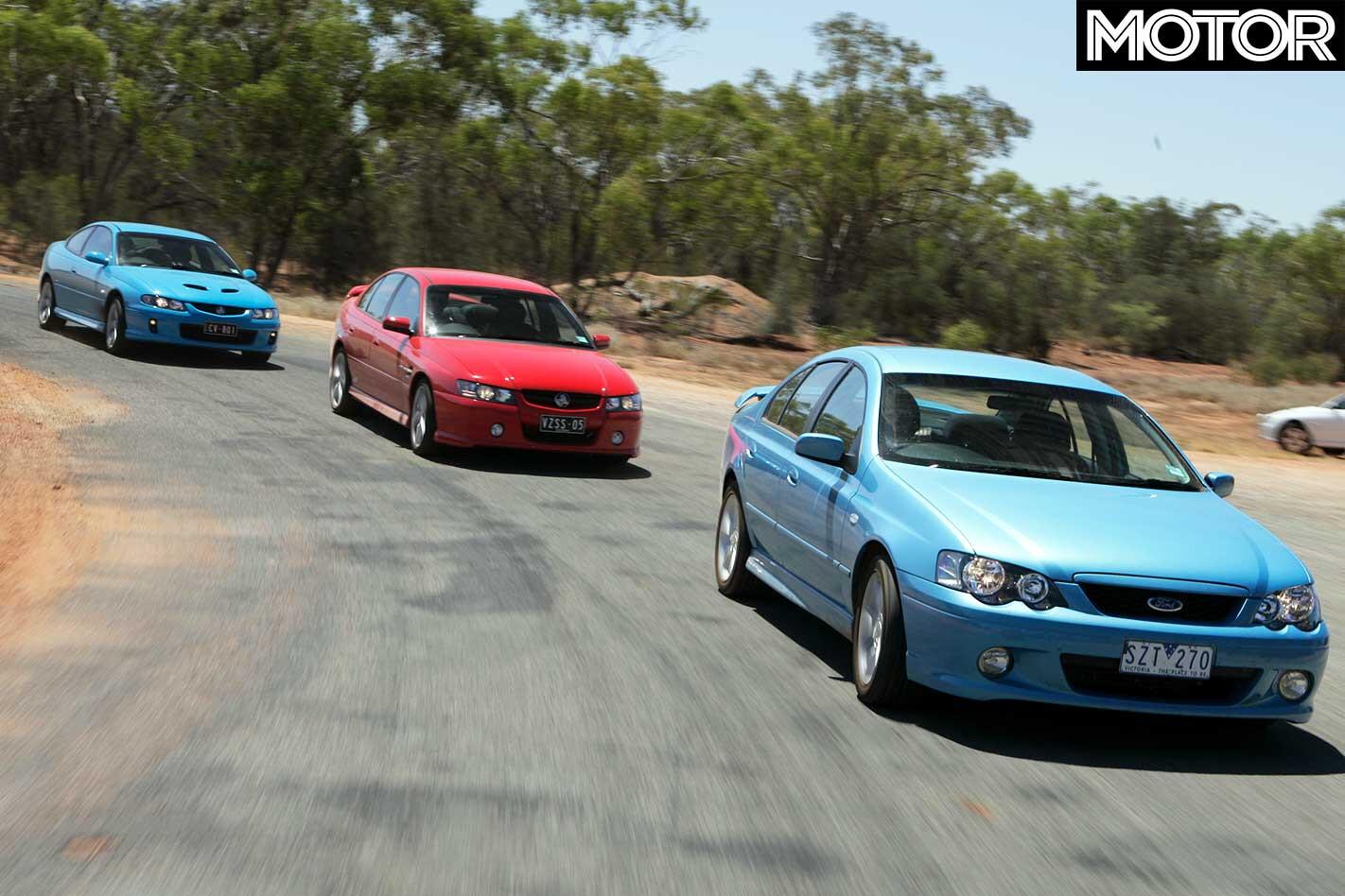 All Aussie Showdown 2005 Holden Commodore SS Vs Monaro CV 8 Vs Commodore SV 8 Vs Ford Falcon XR 6 Turbo Track Comparison Jpg