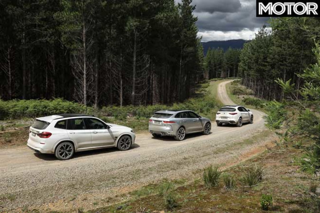 Jaguar F Pace SVR Vs BMW X 3 M Competition Vs Alfa Romeo Stelvio Q Comparison Rear Jpg