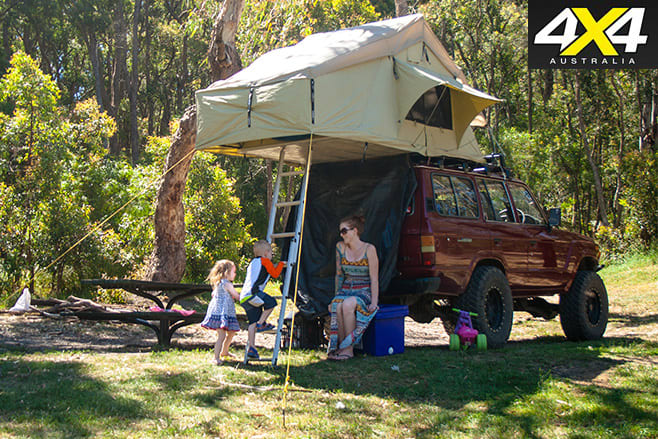 Family and LC60 camper