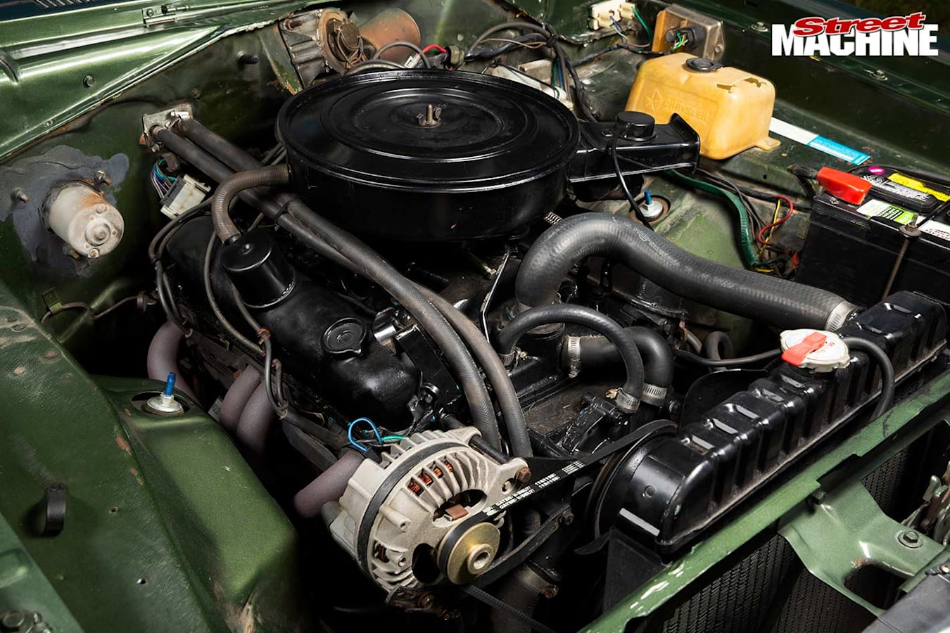 Plymouth Duster engine bay