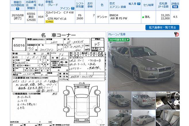 Nissan R34 Skyline GT-R auction record