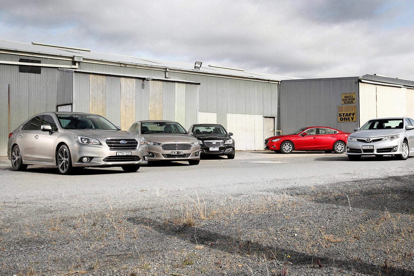 Subaru Liberty v Falcon G6E v Holden Calais v Mazda 6 v Toyota Camry comparison review