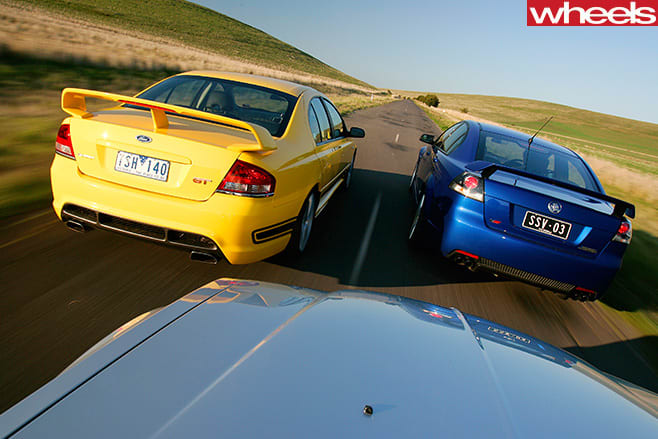 Holden -Commodore -Chrysler -300-and -FPV-GT-rear
