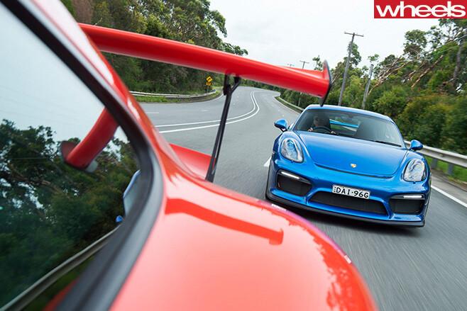 2016-Porsche -911-GT3-RS-v -2016-Porsche -Cayman -GT4-front -blue