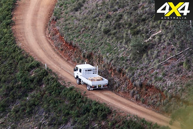 Fuso Canter 4x4 driving uphill