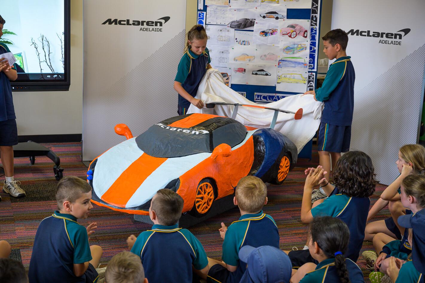 Mc Laren Tiger Stripe Students Unveiling Car Jpg
