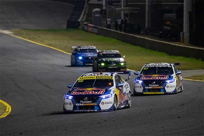 Jamie Whincup leading V8 Supercars at Sydney Motorsport Park.