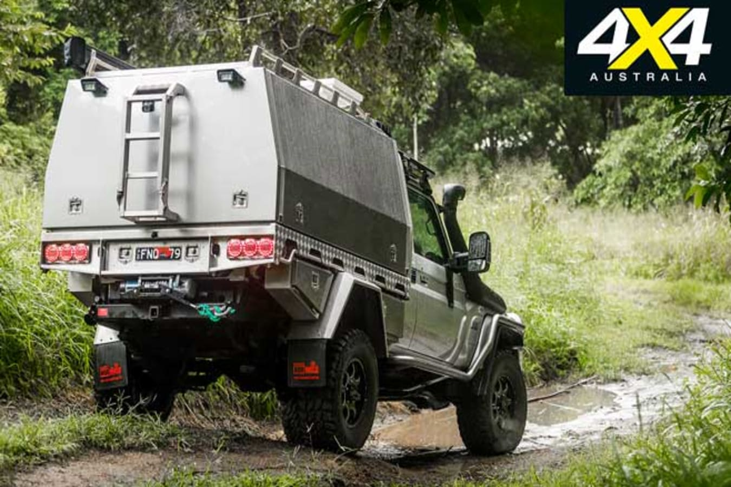 Custom portal-axled Toyota Land Cruiser 79 off road tracks