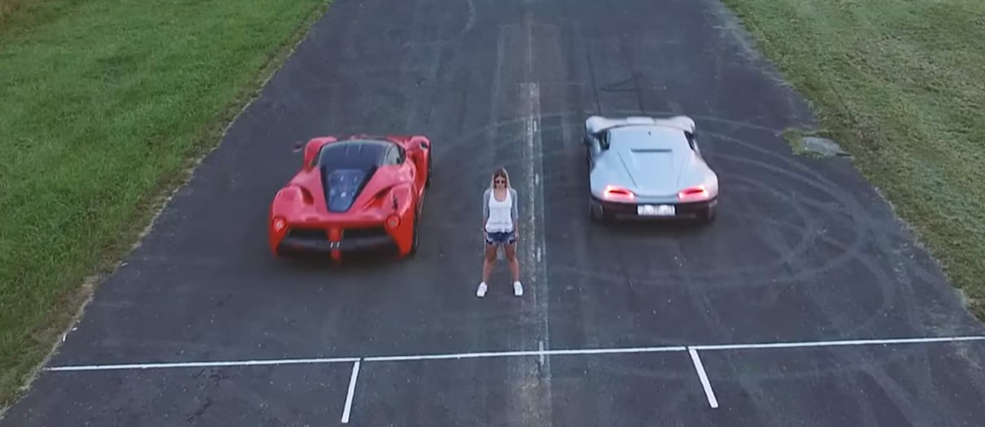 LaFerrari racing against electric car