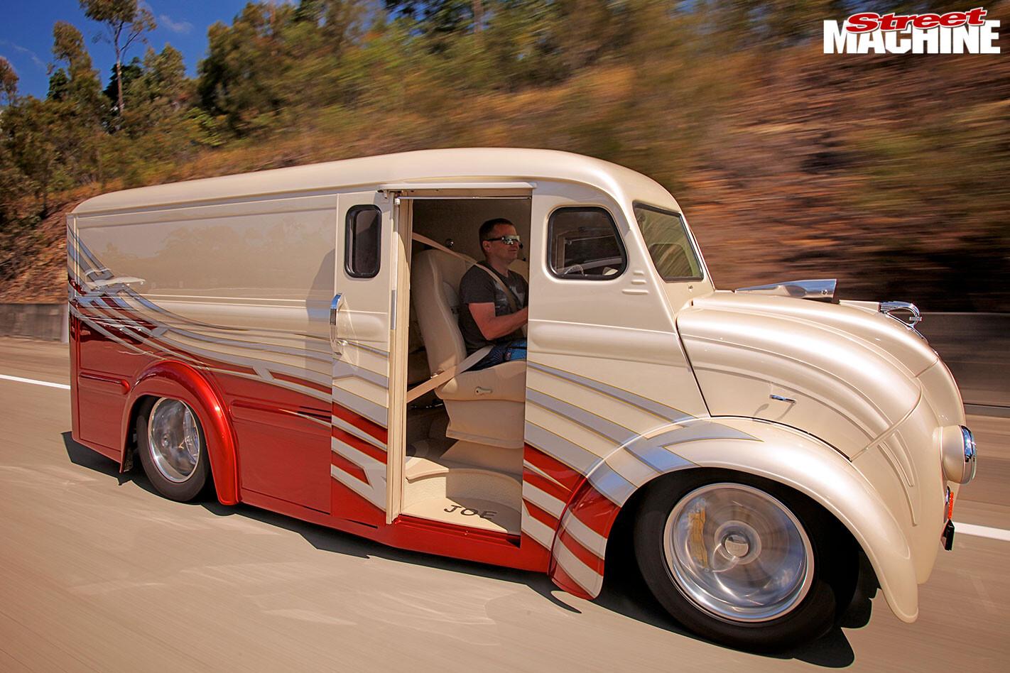 custom Divco van onroad