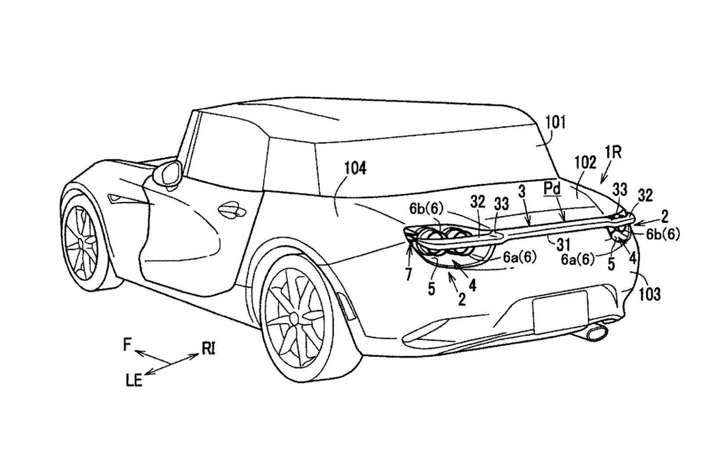 Mazda retractable wing patent