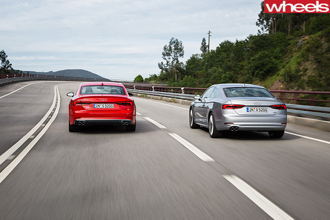 Audi -A5-driving -with -Audi -S5-rear