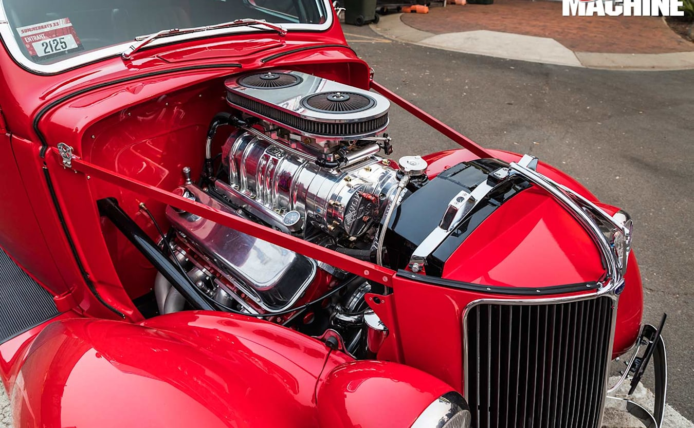 1936 coupe engine bay