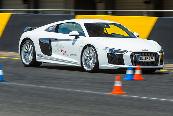 Audi -R8-driving -front -side -around -cones