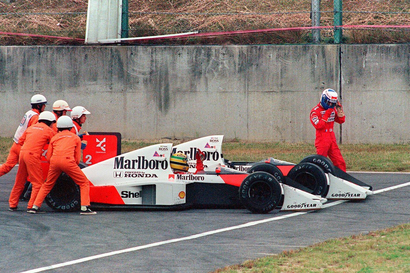 Ayrton Senna in a Honda Civic at Suzuka