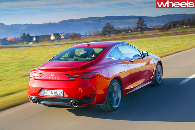 2017-Infiniti -Q60S-rear -side -driving -red