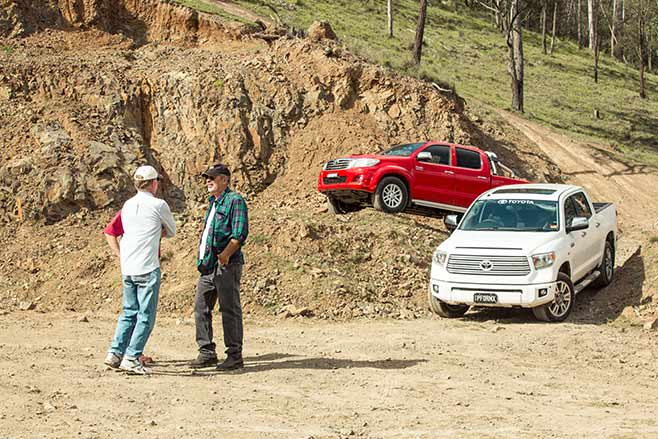 Toyota-Tundra-Crewmax-vs-Toyota-Hilux-SR5-double-cab-parked