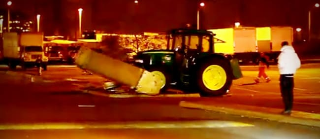 Driverless tractor goes wild in parking lot