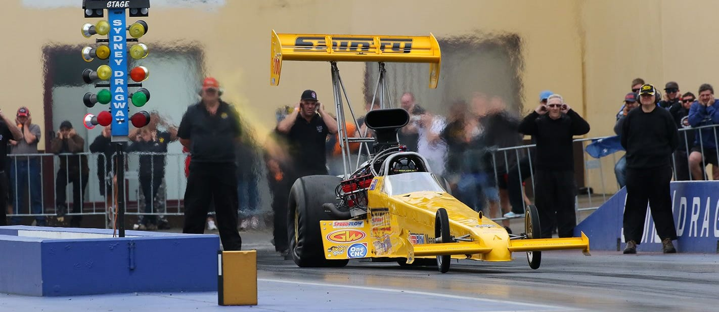 Sainty Top Fuel dragster fire