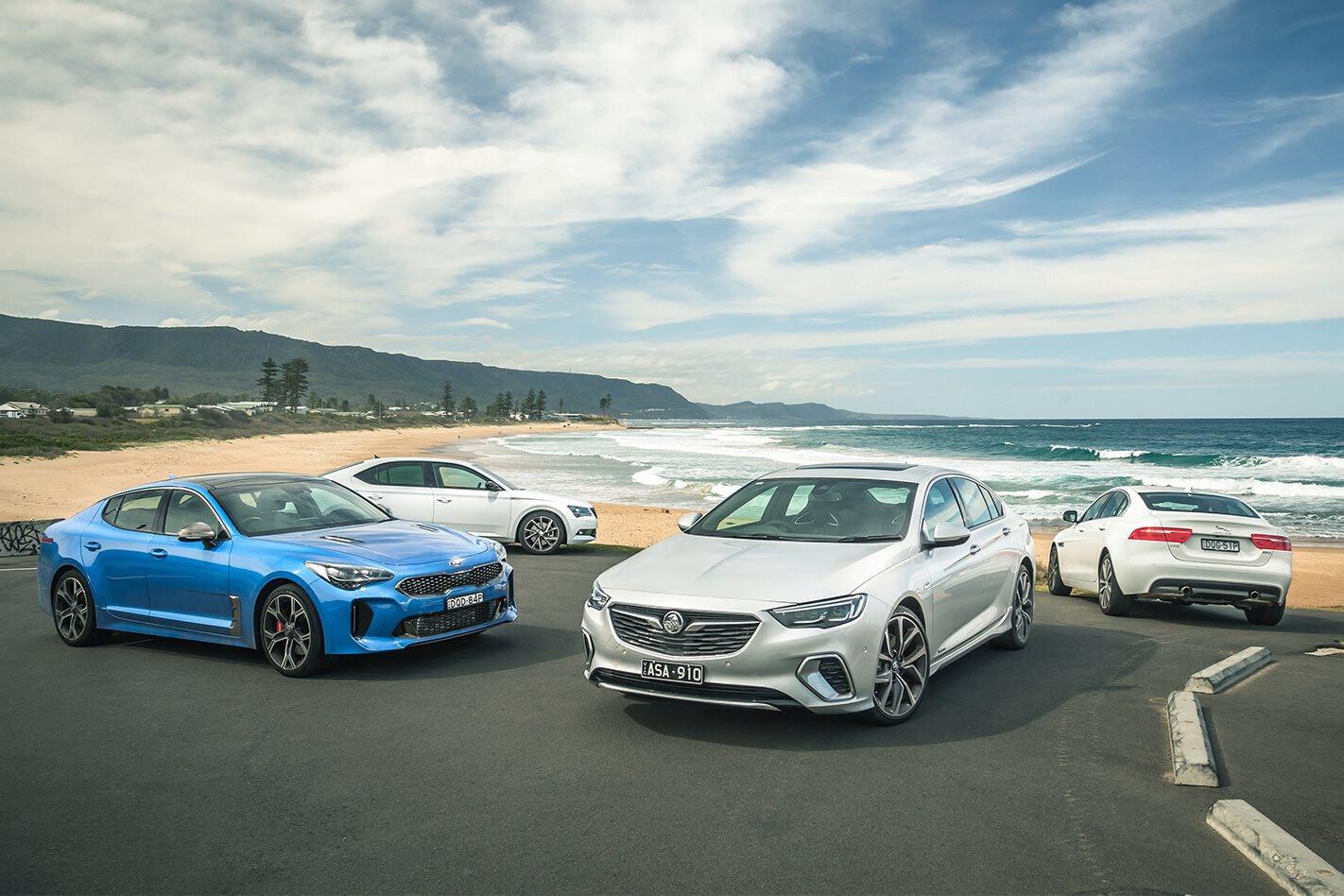 Holden Commodore VXR v Kia Stinger GT v Jaguar XE 25t v Skoda Superb 206 TSI comparison review