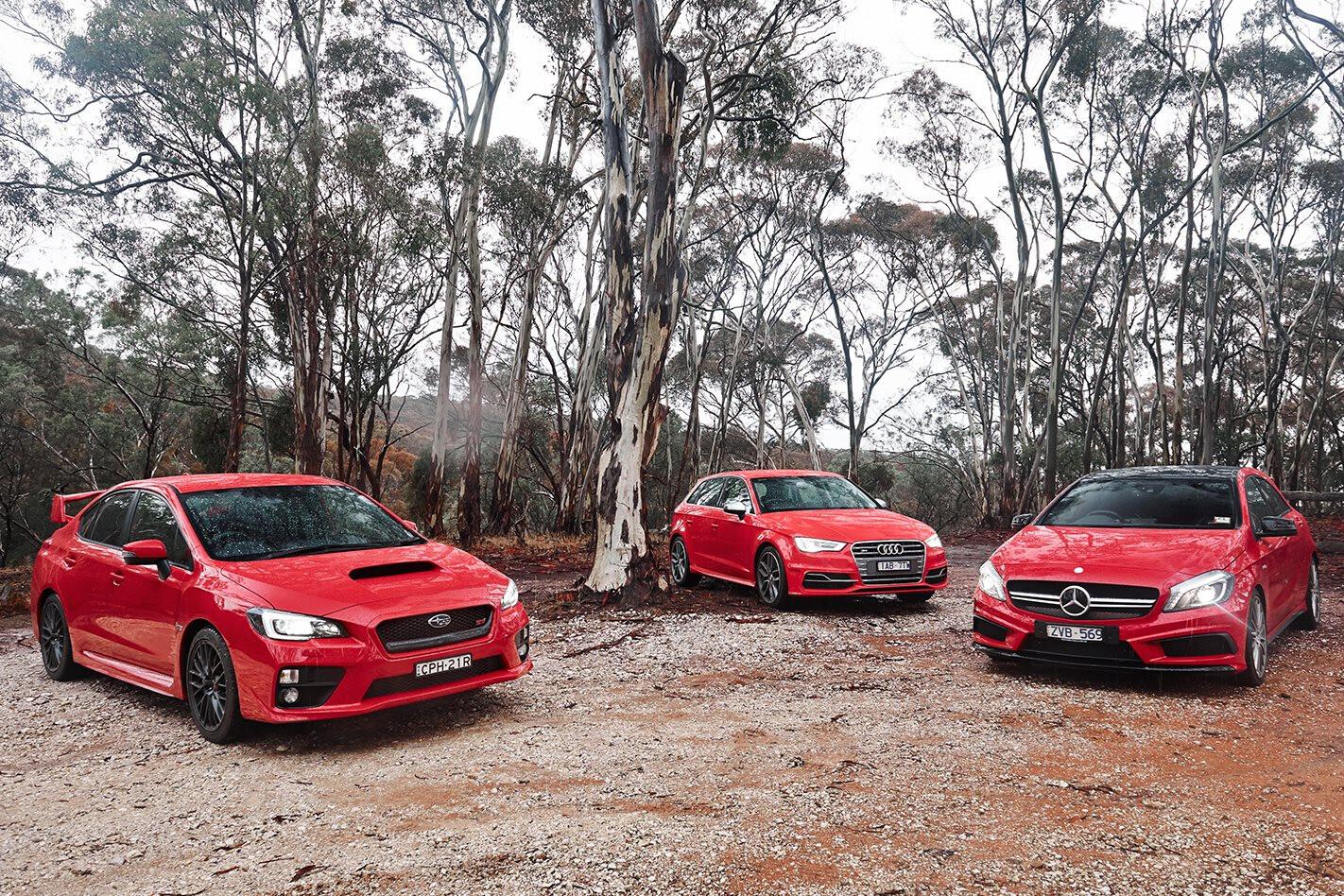 Subaru WRX STI vs Audi S3 vs Mercedes-Benz A45 AMG