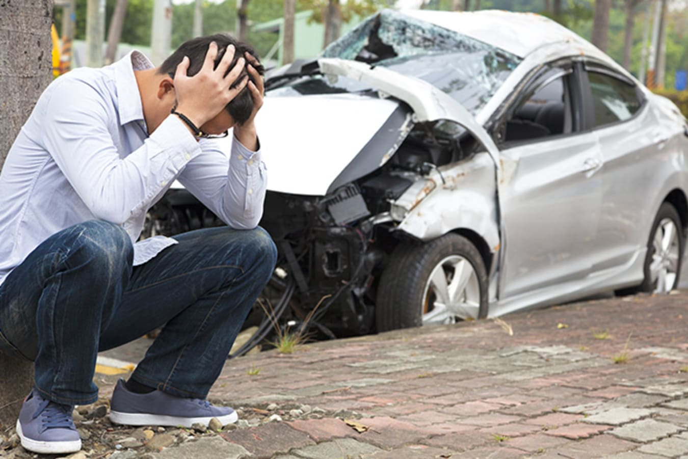 Worried man after car accident