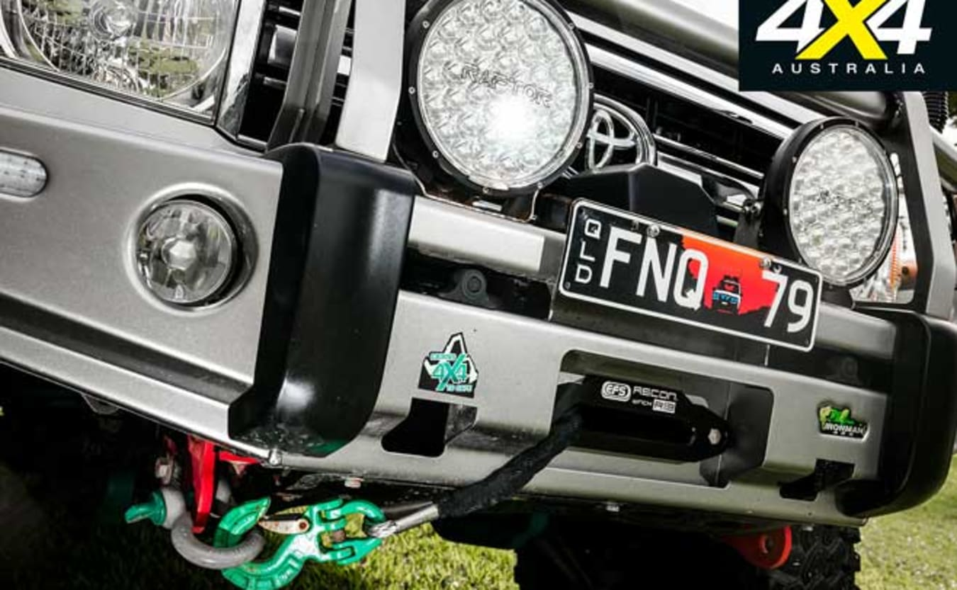Custom portal-axled Toyota Land Cruiser 79 front winch