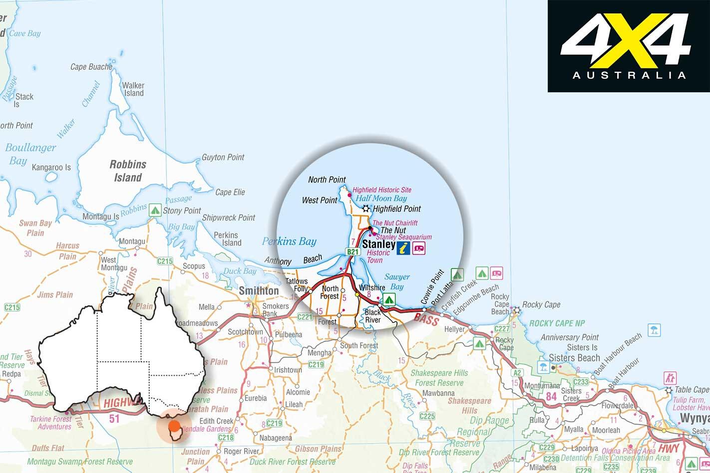 4 X 4 Trip To Stanley Tas Map Jpg