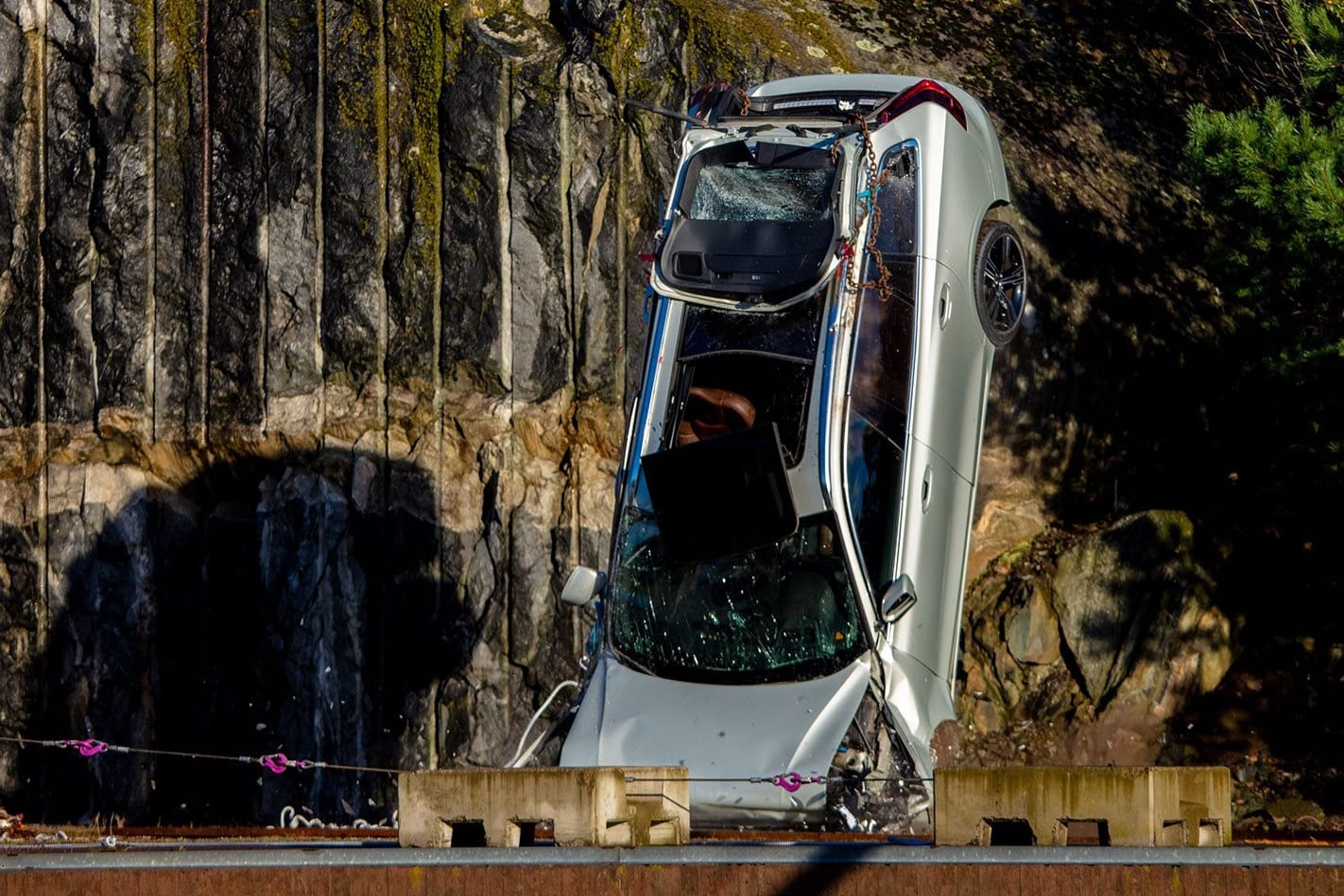 Volvo crash testing cars from a crane