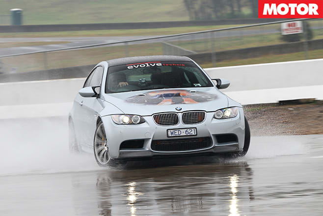 BMWM3 driving in wet