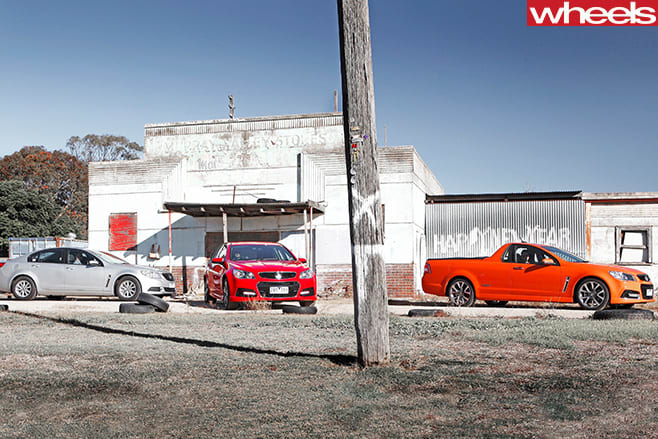 2013-Holden -Commodore -Evoke -driving -with -SS-V-ute -and -Sportback