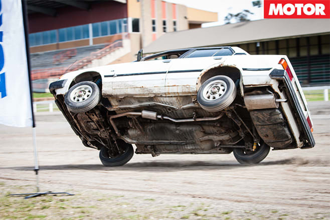 Stunt driving car two wheels